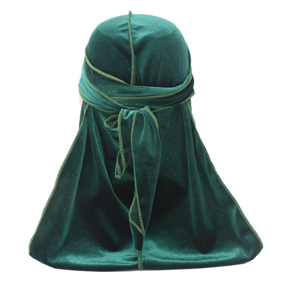 Mens Womens Premium Velvet Durag Cap Headwrap with Long Strap