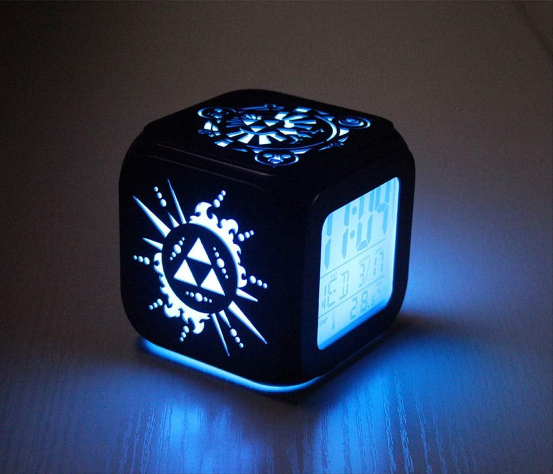 Elektronische Uhr Student Led Kleine Nachtlicht Bett Kopfuhr 8,8 cm Schwarze Schale B HHIAK666 3D Stereo Kleiner Wecker