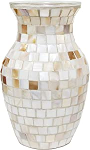 "SHMILMH Glass Shell Handmade Vase 8"" Tall Table Centerpiece Mosaic Accent Container for Flowers, Home Decor, Office, Living Room, Kitchen, Wedding"
