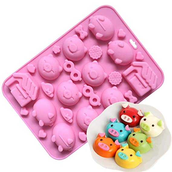 Amazon.com: Gessppo 10 Holes Pig Cake Mould Silicone Soap Biscuits Chocolate Pastry Candle Jelly Sugarcraft Mold Fondant Bakeware Baking Tools: Kitchen & ...