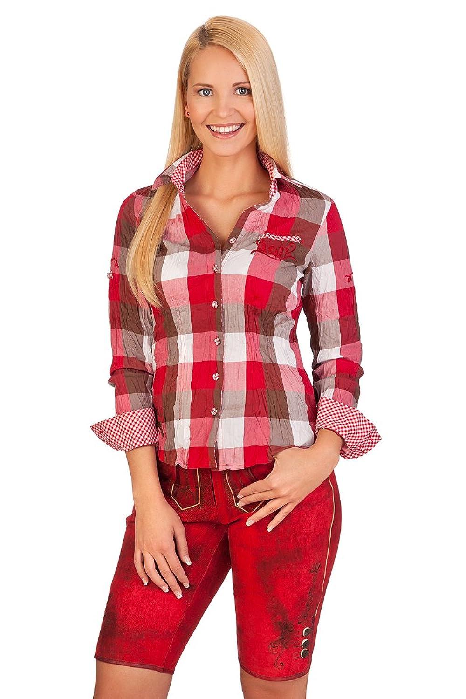 Trachten Damen Ledershorts - RITA - rubin