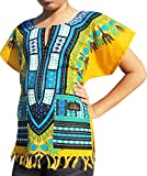 Raan Pah Muang RaanPahMuang Branded Cotton Childs Dashiki Shirt Tassels and Pockets Bold Colours, 6-8 Years, Buff Yellow