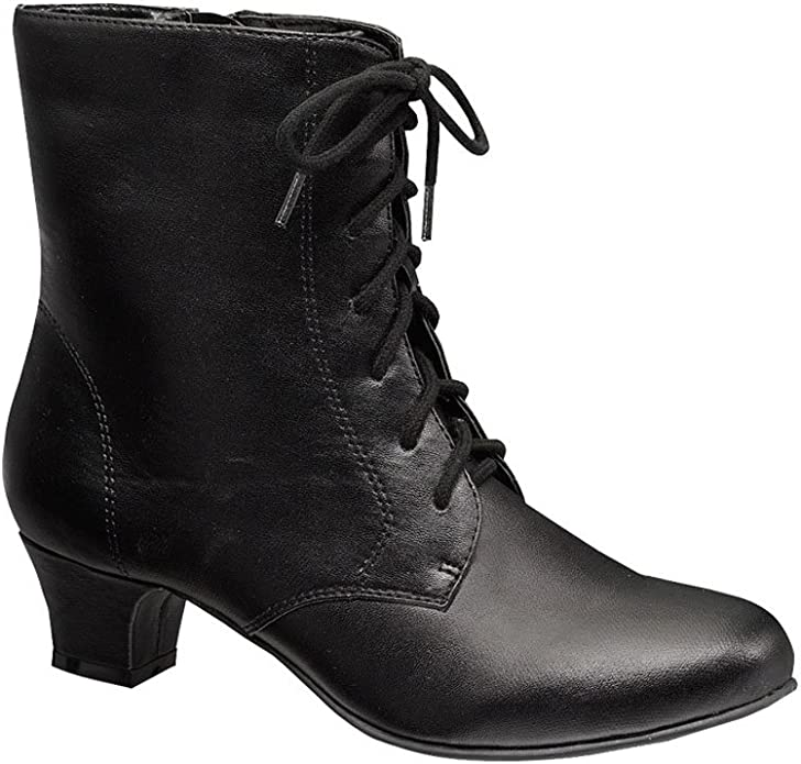 Cottagecore Clothing, Soft Aesthetic Angel Flex AmeriMark Jada Lace Up Ankle Boots - Low Heeled Boots for Women $45.98 AT vintagedancer.com