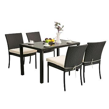 Freizeit Zone® Garten Rattan Gartenmöbel Sets Terrasse Tisch, Rechteckig,  Mit 4 Outdoor Stühle