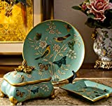 American pastoral ceramic three-piece suit/ jewelry ornaments/ European home ashtray/ jewelry box set-C