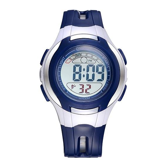 Niño] Relojes digitales,Impermeable Luminoso Encantador] Despertador Watch Chico Relojes de chica Correa con hebilla pasador-C: Amazon.es: Relojes
