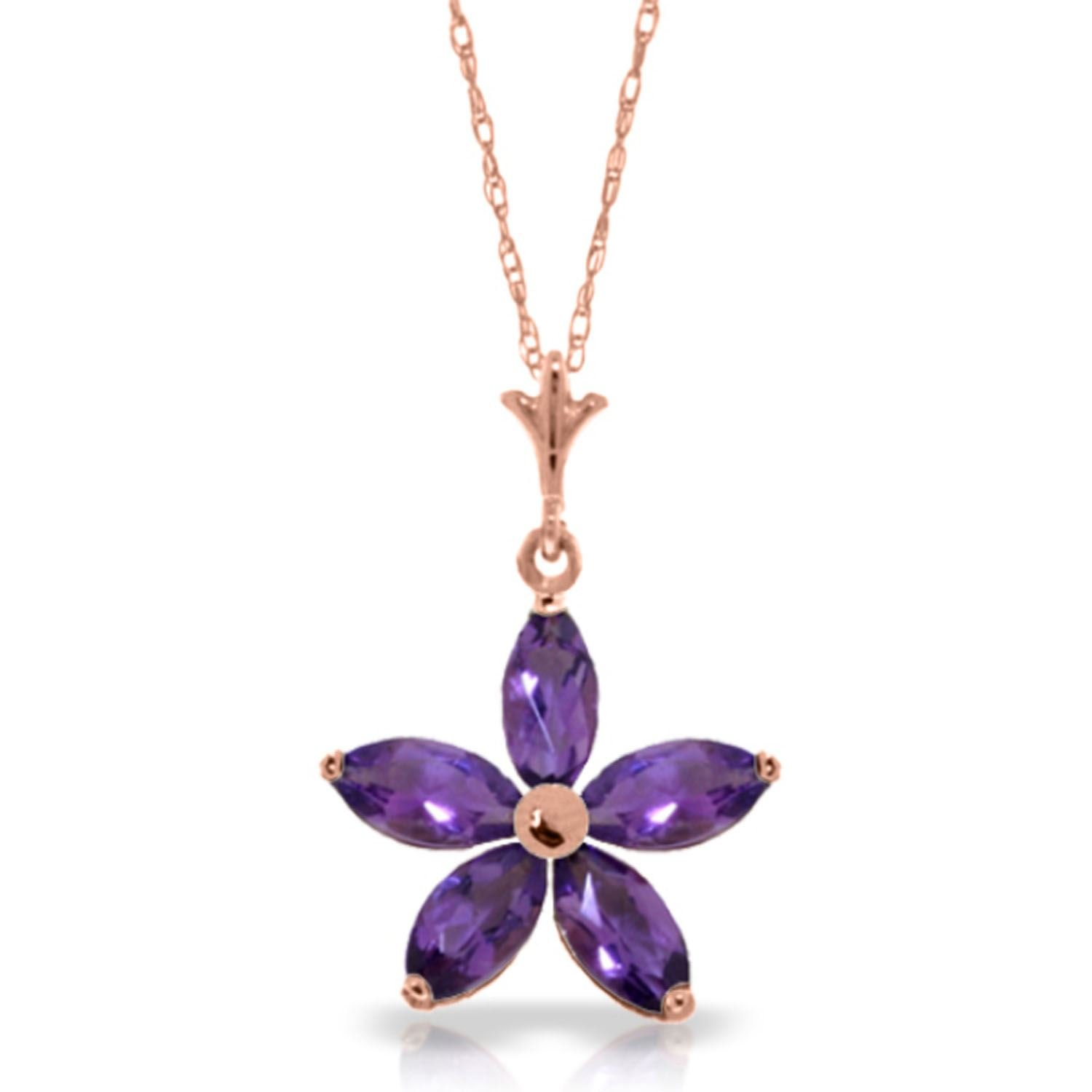ALARRI 14K Solid Rose Gold Necklace w// Natural Purple Amethysts