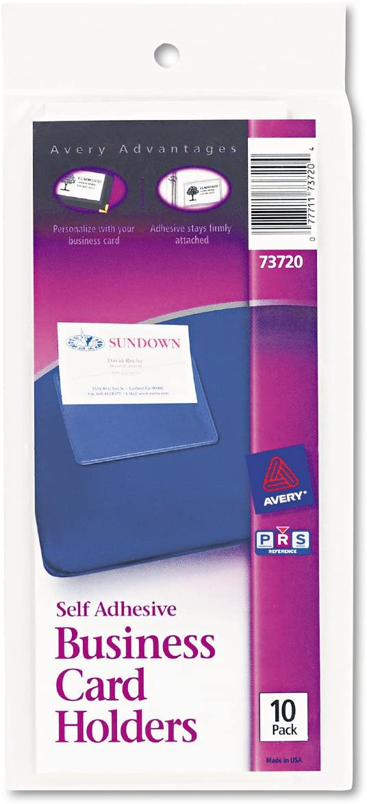 Avery 73720 Self-Adhesive Business Card Holders, Top Load, 3-1/2 x 2, Clear (Pack of 10)