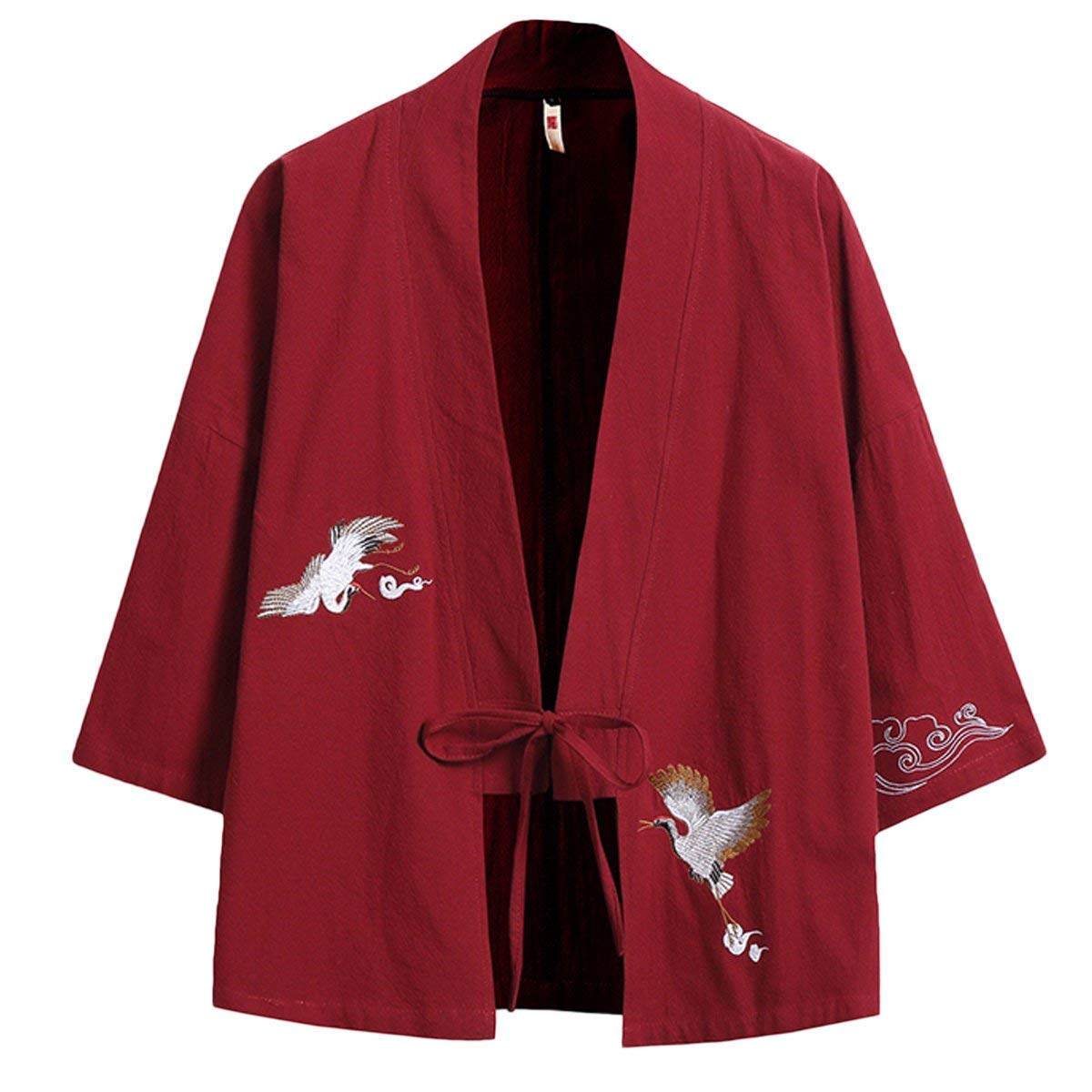 Screenes Chaqueta Hombre Abrigos Algodón Kimono Larga Japonés Bordado Vendaje Manga Cazadoras Suelto Outwear Chaquetas Abrigo: Amazon.es: Ropa y accesorios