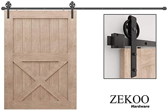 Amazon Com Zekoo 11 Ft Rustic Sliding Wood Single Barn Door Hardware Flat Tracks Kit Home Improvement