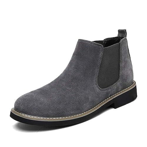 Botines Chelsea de Moda Zapatos Casuales Botas de Hombre de Cuero de Gamuza de Vaca: Amazon.es: Zapatos y complementos