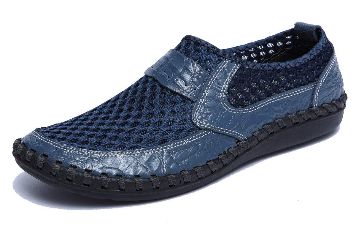 Beeagle Mens Loafers Slip Ons Breathable Mesh Flat Walking Shoes Casual Driving Shoes Blue 45