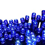 Escolite solar christmas lights party string lights 200led for solar powered Outdoor indoor string lights patio Gardens Christmas Trees bedroom flower decoration Wedding Waterproof Blue