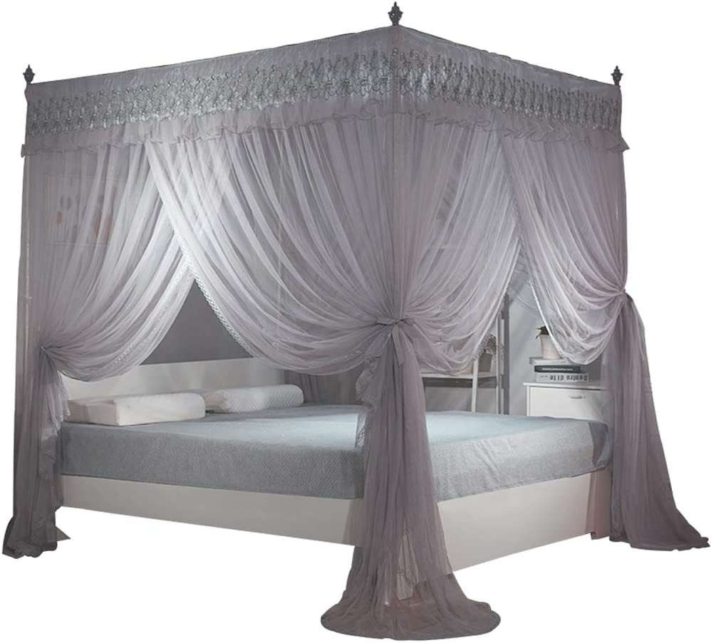 Amazon Com Nattey 4 Corners Post Canopy Bed Curtain For Girls Adults 4 Openings Bed Canopies Bedroom Decoration Accessories Queen Gray Home Kitchen