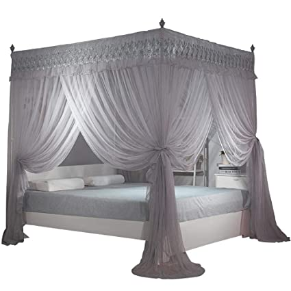 Amazon.com: Nattey Gray 4 Post Bed Curtain Canopy Mosquito Netting Bed  Canopies (Queen, Gray): Home U0026 Kitchen