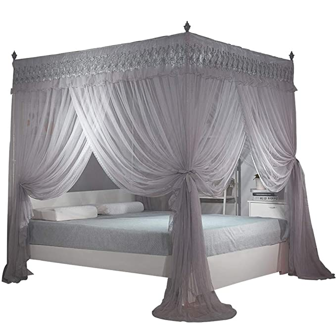 Nattey Gray 4 Post Bed Curtain Canopy Mosquito Netting Bed Canopies (Queen, Gray)