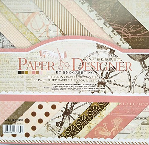 "Gnognauq 40Pcs Multi-Colored Designer Paper Decorative Craft Paper for Creative Scrapbooking and Cards,7''X7"" (DSM013)"