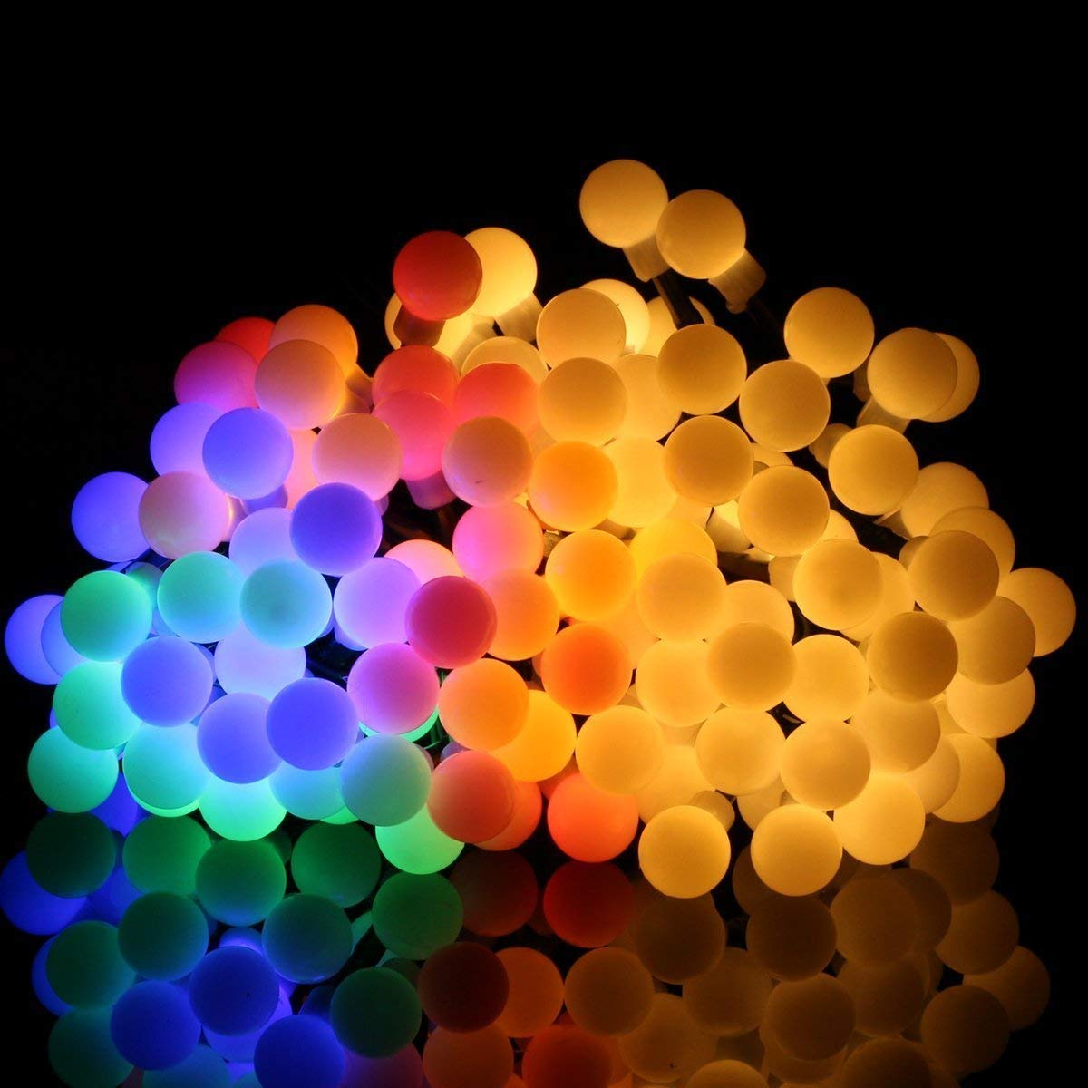 Kuty 10M 80 LED de Exterior Luces de colores LED Bombillas Multicolor Decoració n de Navidad Impermeable 3AA Pilas Cadena de Luces