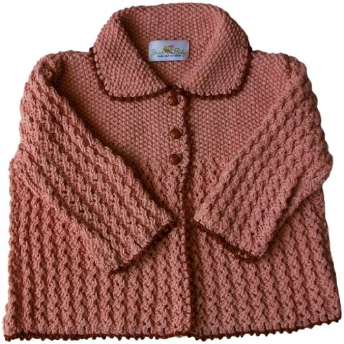 JuneBee Baby, Inc. Winter Beauty Cotton & Bamboo Knit Toddler Cardigan - Pastel Dusty-rose with Brown trim - 2T
