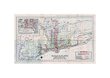 Map|Chicago Transit s, Chicago Rapid Transit Lines Transit/RR|Historic Antique Vintage Reprint|Size: 14x24|Ready to Frame