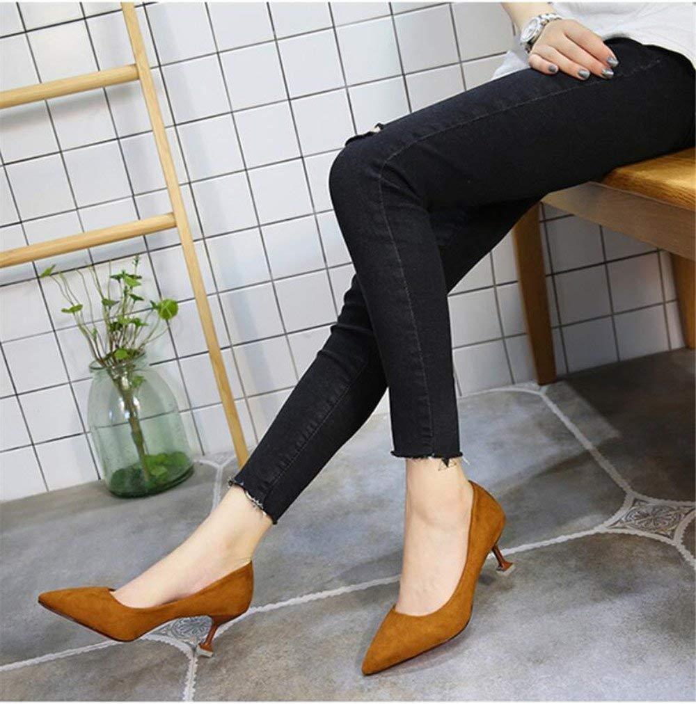 Pumps schwarz High Heels weiblich fein fein fein mit spitzem Mittelabsatz Profi-Arbeitsschuhe Wild Flache Mund Schuhe, 37, Schwarz 95efd4