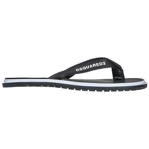 fcbd555f5 Dsquared2 Hombres Zapatillas Sandalias Chanclas EN Goma Nuevo Negro   Amazon.es  Zapatos y complementos