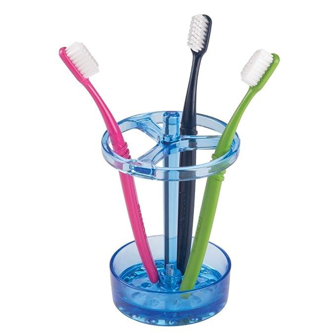 InterDesign Eva Soporte para cepillos de dientes, gran portacepillos en plástico, organizador de baño para cepillos dentales, azul: Amazon.es: Hogar