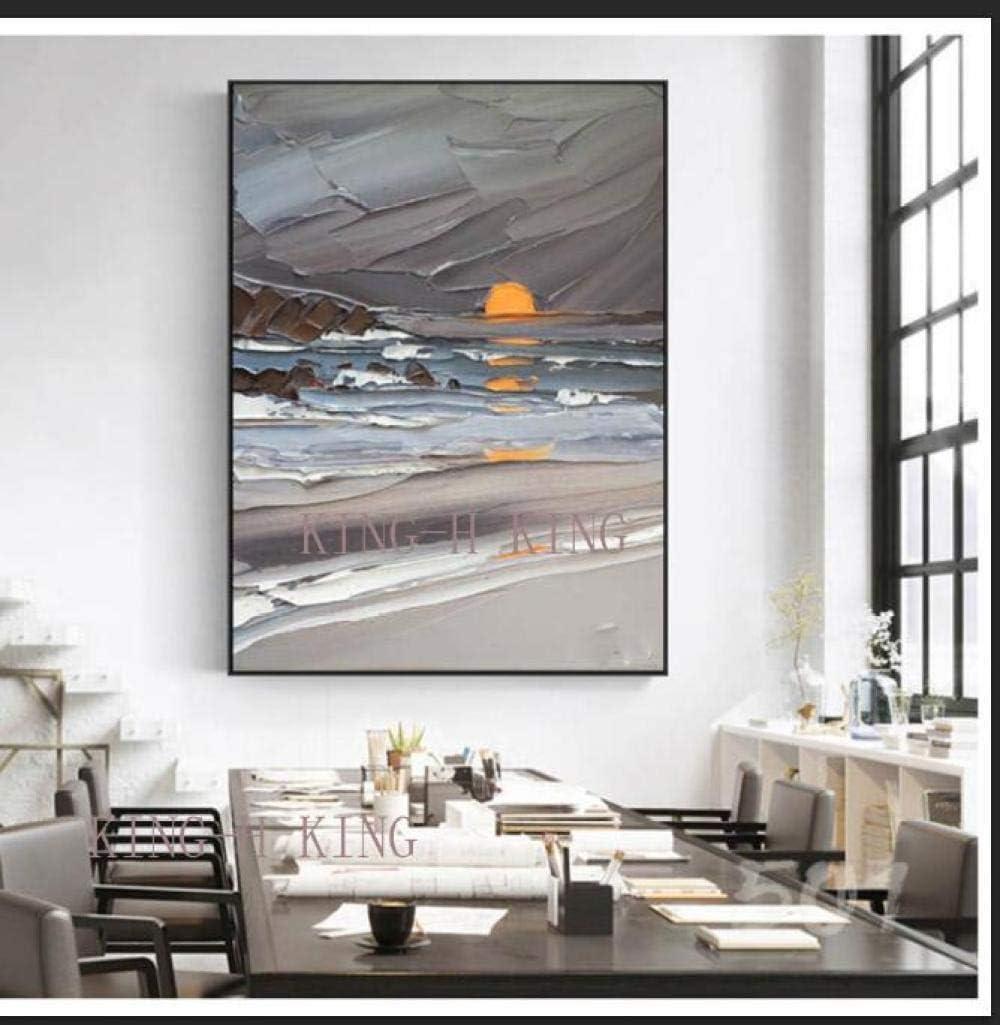 mmzki Juego Pintura al óleo GrandePintado Moderno Abstracto Cuchillo Amanecer Pintura al óleo sobre Lienzo Cuadros de Pared para Sala de Estar decoración de la Pared Hotal-60x90 cm_Kingh1