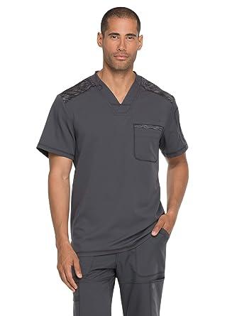 4a577ae5145 Amazon.com: Dickies Dynamix Men's Mélange Contrast V-Neck Scrub Top:  Clothing