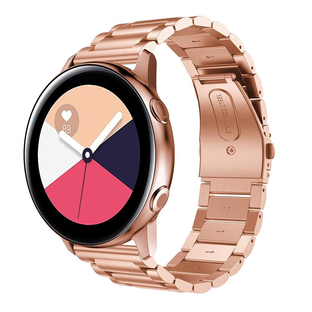 Three Beads Slingshot Buckle Solid Stainless Steel Wrist Strap Watch Band for Galaxy Watch Active 20mm Premium Quality (Color : Rose Gold) by GuiPing