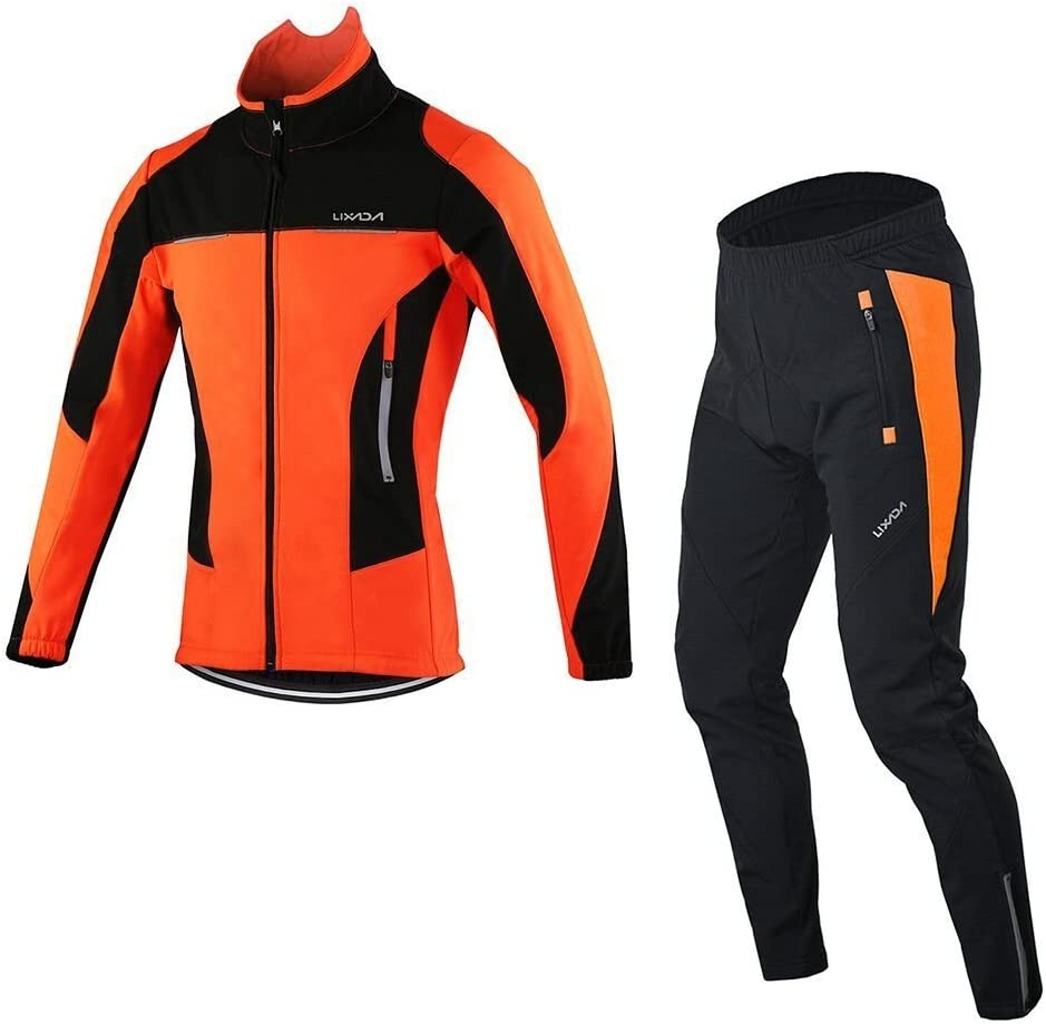 Lixada Men's Cycling Jersey Suit Winter Thermal Breathable Comfortable Long Sleeve Jacket with Padded Cushion Pants Trousers: Clothing
