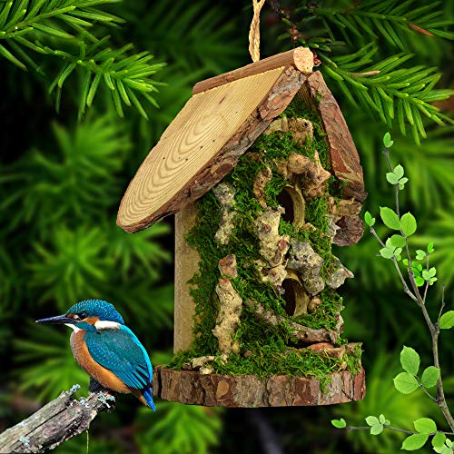 Favorlot Natural Birdhouse Tall Wooden and Bamboo Handcrafted Hut Two Holes Bird Friendly House for Outdoors Tree Hanging and Indoors Display - Birdhouse Tree
