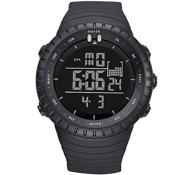 bd3f8346a6e4 amstt Niños Relojes Joven Militar Cronómetro digital reloj LED resistente  al agua electrónico negro esfera reloj de pulsera  Amazon.es  Relojes