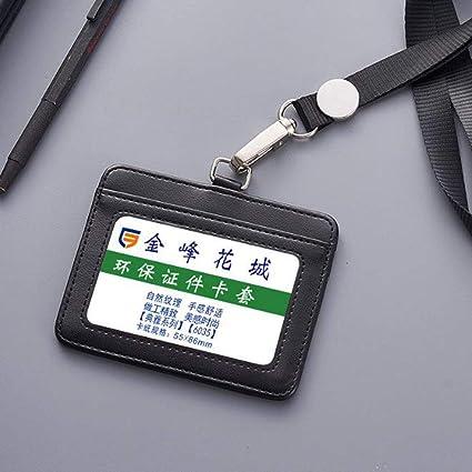 JUNSHUO Funda de piel PU para tarjeta de identificación ...