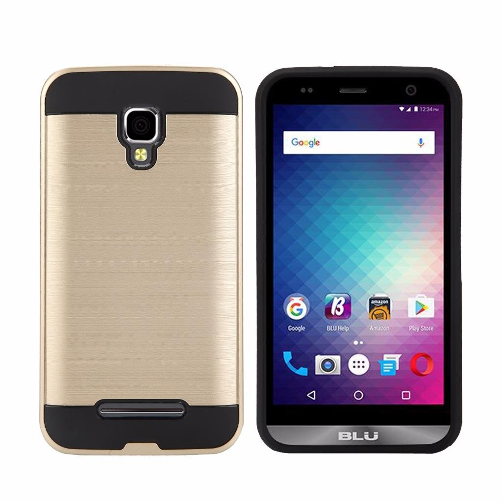 Blu Dash XL (D710U) Cellphone Case, Tough Hybrid Armor Shockproof Dual Layer Drop Protection Case Cover Case (VGC Gold)