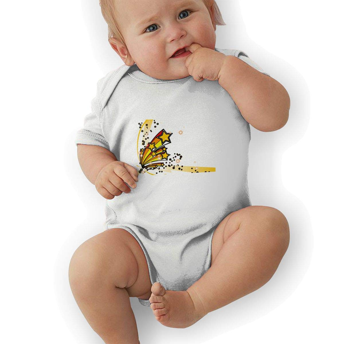 Infant Baby Boys Bodysuit Short-Sleeve Onesie Creative Stereoscopic Stars Print Jumpsuit Spring Pajamas