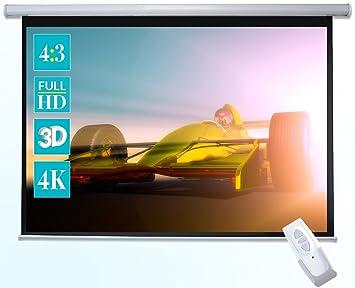 Celexon Basic Pantalla motorizada 240 x 180cm, formato de pantalla 4:3, pantalla de cine en casa, pantalla de vídeoproyector, pantalla 3D, pantalla ...