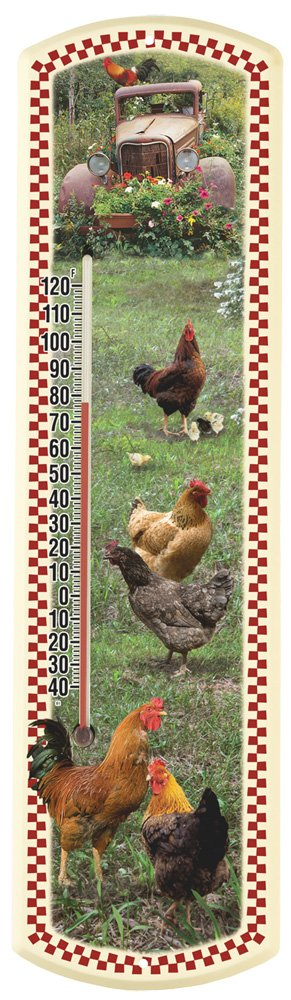 Heritage America by MORCO 375CK-R Chicken-Red Border Outdoor or Indoor Thermometer, 20-Inch