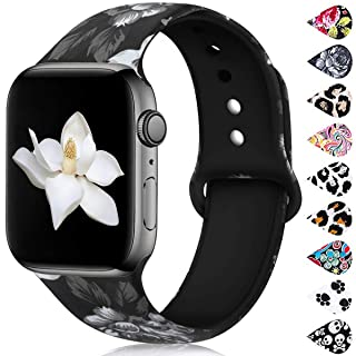 Haveda Floral Bands Compatible with Apple Watch Series 5 40mm Series 4, Sunflower Printed iWatch Bands 38mm Womens for iwatch Series 3/2/1 Silicone Sport Wristbands Women Men Kids, S/M Gray Flower