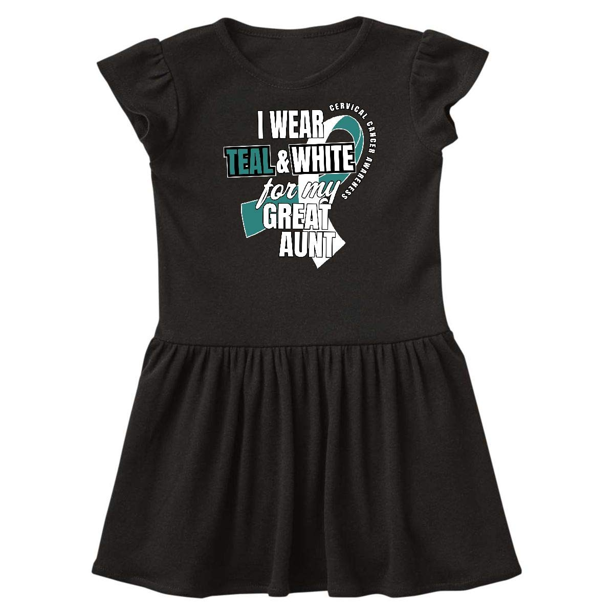 inktastic I Wear Teal and White for My Aunty Cervical Cancer Baby T-Shirt