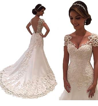c0b3b715e255 White Backless Lace Mermaid Wedding Dresses 2018 V-Neck Short Sleeve Wedding  Bride Gowns at Amazon Women's Clothing store: