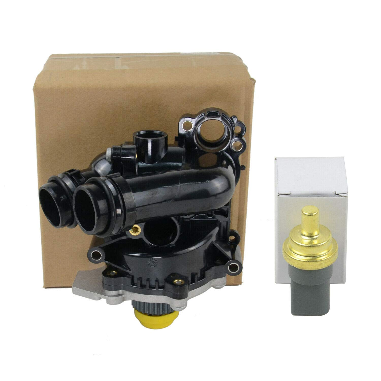 Water Pump and Thermostat Assembly 06H121026N 06H121026T For Audi VW 1.8 2.0 T by GELUOXI