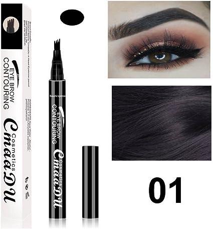 Liquid Eyebrow Pen - BESTGIFT Pluma para cejas en crema para tinte de larga duración con cuatro consejos impermeables para maquillaje a prueba de ...