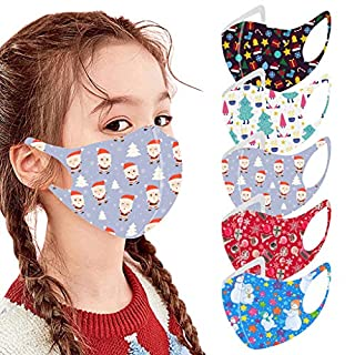 5 PC Christmas Reusable Vintage Unisex Kids Face Bandanas Washable Breathable Seamless Cute Print Child School Supplies