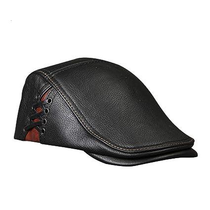 be66f04407ff gorro de invierno Sombrero de boina de cuero vintage para hombre ...