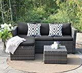 View & co Patio Furniture 3 PCS Outdoor Sectional Furniture Set P.E Rattan Conversation Sets With Matching Waterproof Patio Cushions and Coffee Table & Necessary Tools (3 Set- Gary and Dark gary)