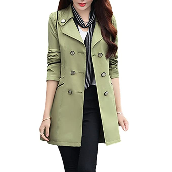 9b8336daa70 Verypoppa Women s Spring Autumn Jacket Double Breasted Lapel Long Sleeve  Trench Coat Tops (US 0