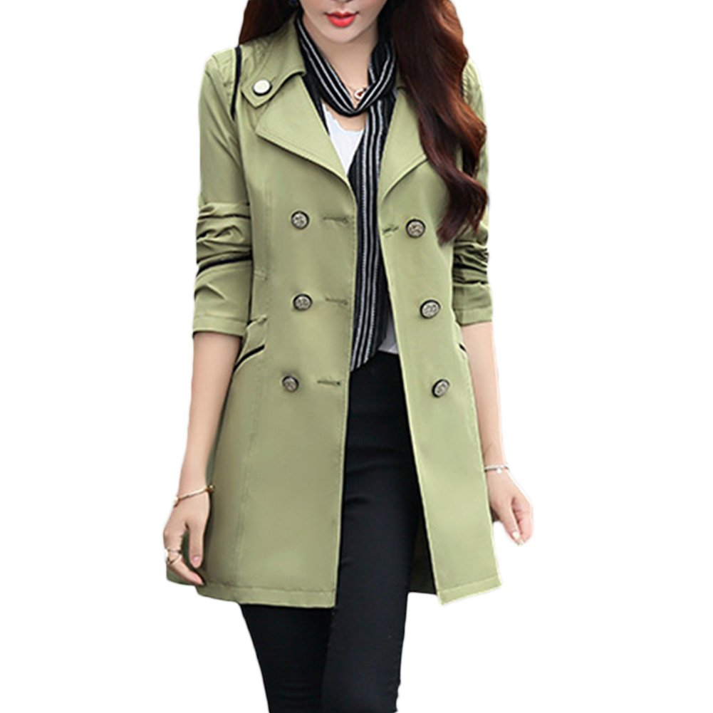 Verypoppa Women's Double Breasted Lapel Thin Trench Coats Jackets (US 4/6 = Asian XL, Army Green) by Verypoppa
