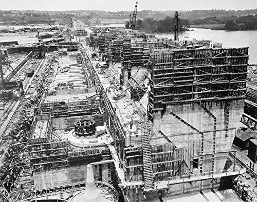 (Wilson Dam C1922 Na View Of The Construction Of The Wilson Dam On The Tennessee River Looking North From Muscle Shoals Alabama Showing The Structural Piers And Draft Cone Photographed C1922 Poster Pri)