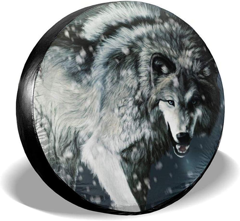 Hiram Cotton Spare Tire Cover Mit Wolf Reserveradabdeckung wasserdichte Universal Reserveradabdeckung Passend F/ür Jeep,Gel/ändewagen Und Viele Fahrzeuge
